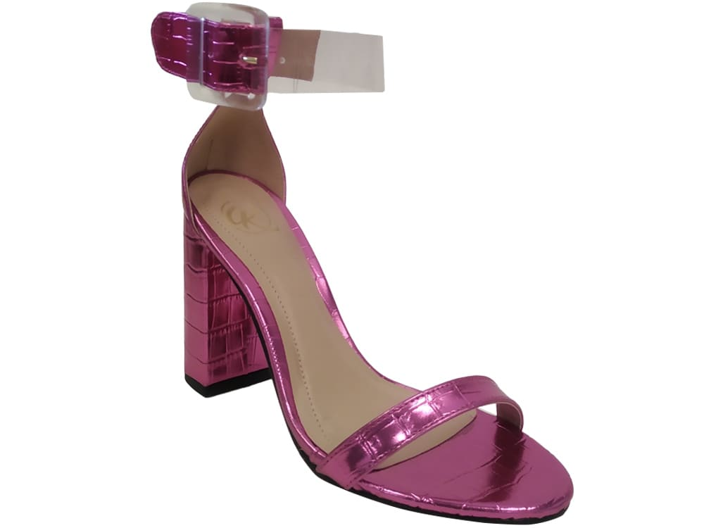 Sandália croco met pink 9cm Cód.1131