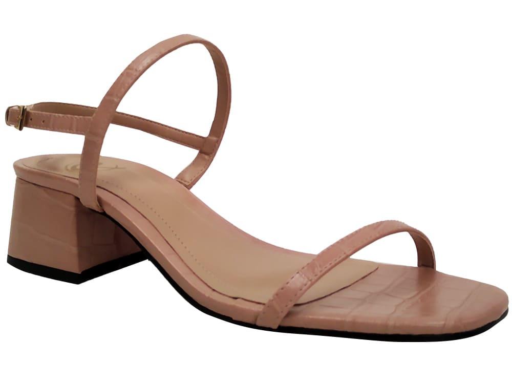 Sandália croco nude 5cm Cód.1102