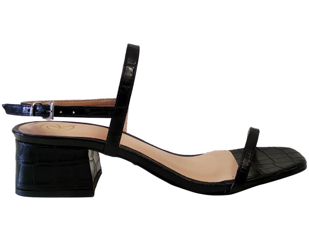 Sandália croco preto 5cm Cód.1103