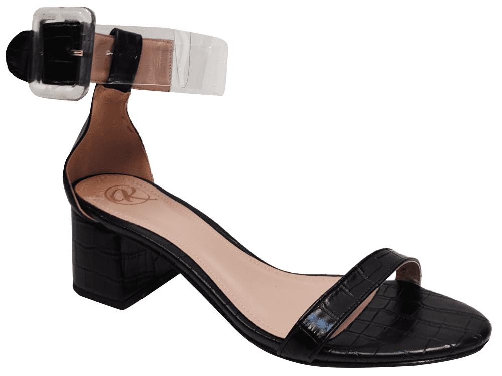 Sandália croco preto 5cm Cód.1279
