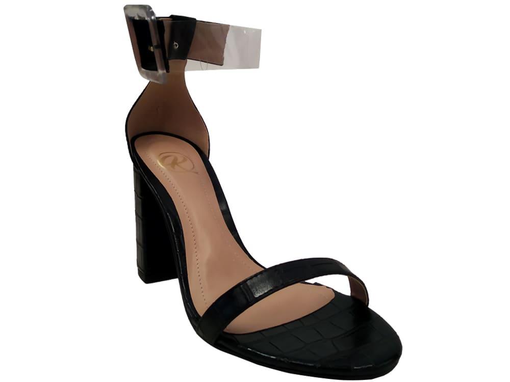 Sandália croco preto 9cm Cód.1127