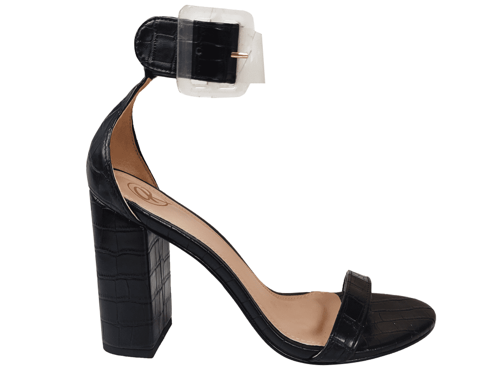 Sandália croco preto 9cm Cód.1310