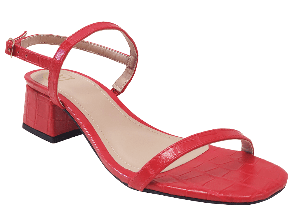 Sandália croco vermelho 5cm Cód.1228