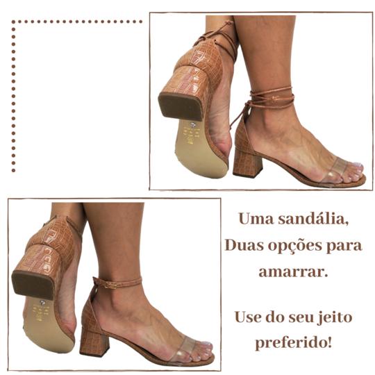 Sandália croco verniz tan cordão tan 5cm Cód.720