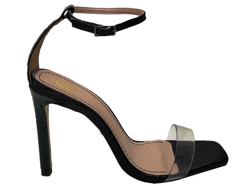 Sandália croco vz preto cordão preto 9cm Cód.721