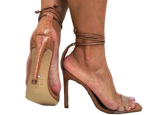 Sandália croco vz tan cordão tan 9cm Cód.722