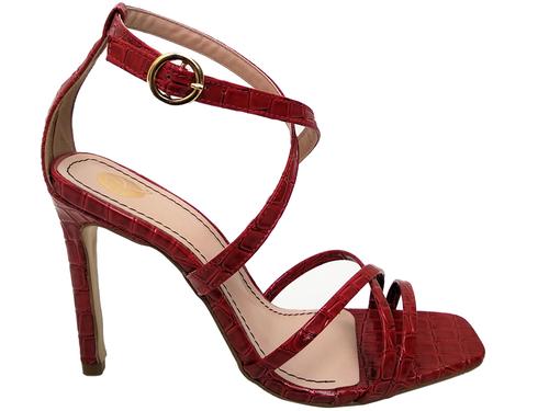 Sandália croco vz  vermelho 9cm Cód.723