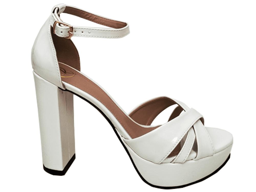 Sandalia meia pata vz branco salto 11cm   Cód.: 870