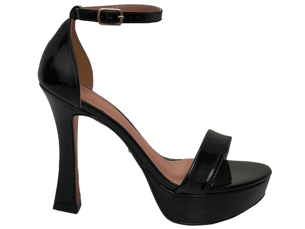 Sandalia meia pata vz preto salto 11cm   Cód.: 863