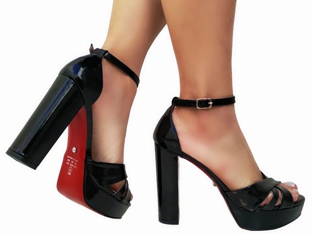 Sandalia meia pata vz preto salto 11cm   Cód.: 869