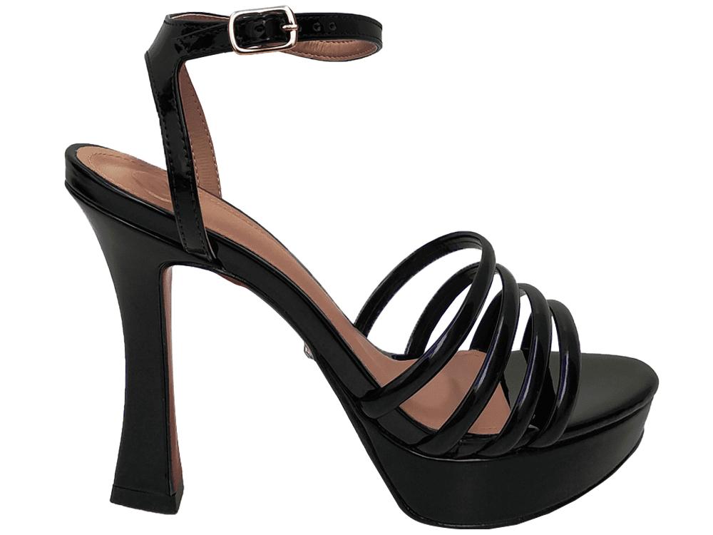 Sandalia meia pata vz preto salto 11cm   Cód.: 875
