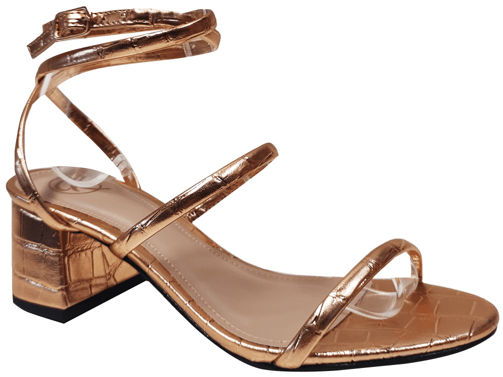 Sandália met/croco cobre 5cm Cód.1289