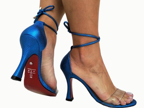 Sandália metalizado azul 2em1 9cm Cód.733