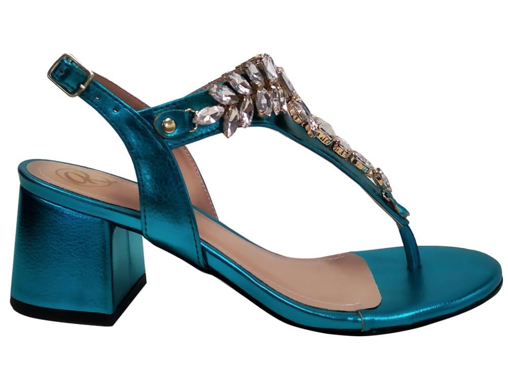 Sandália metalizado azul 5cm Cód.1145