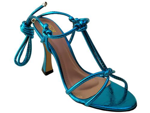 Sandália metalizado azul 9cm Cód.776