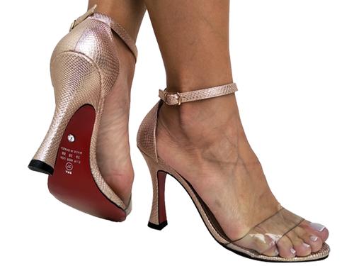 Sandália metalizado cobre 2em1 9cm Cód.731
