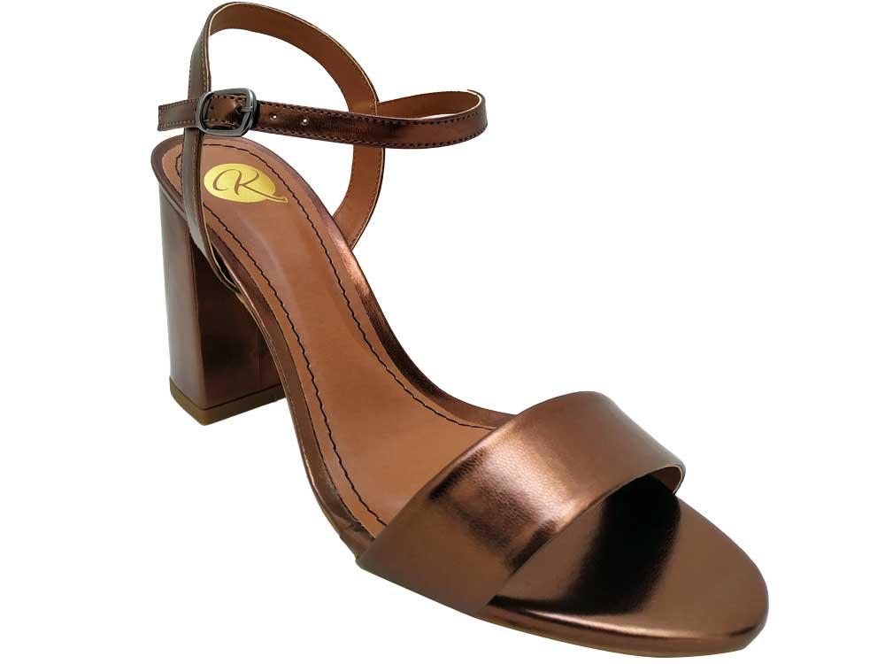 Sandália metalizado cobre 9cm Cód.548