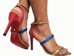 Sandália metalizado colorido 9cm Cód.729
