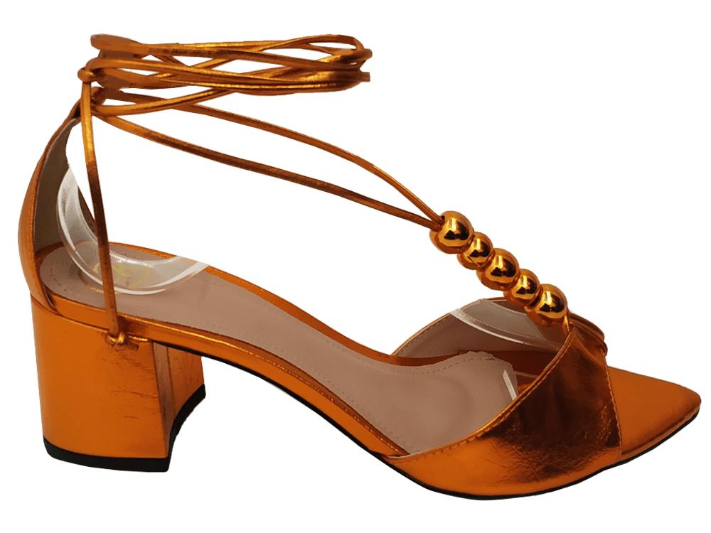 Sandália metalizado laranja 5cm Cód.797