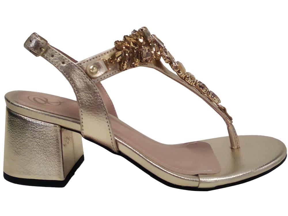 Sandália metalizado ouro 5cm Cód.1147