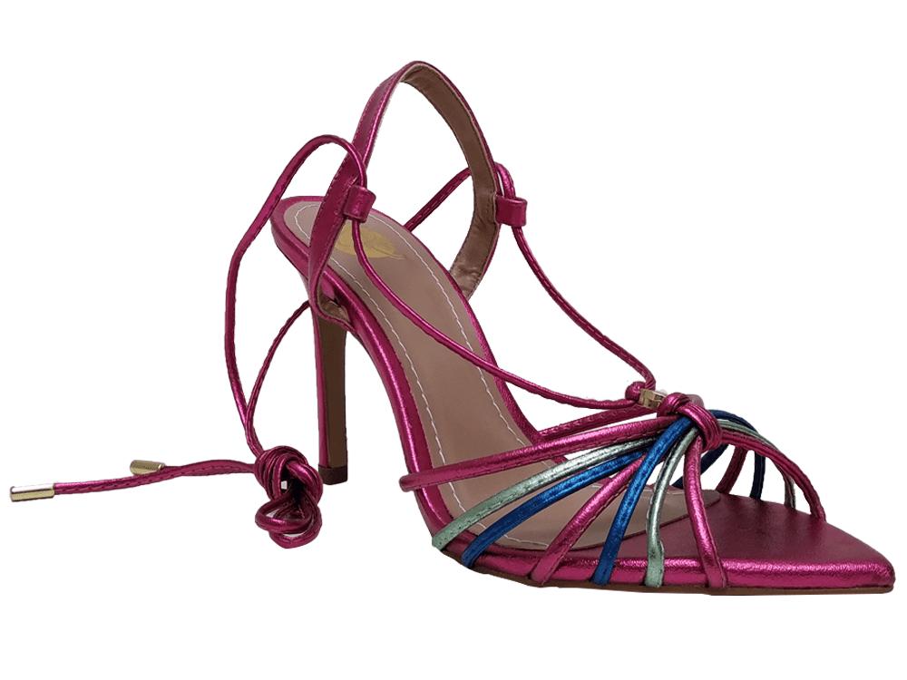 Sandália metalizado pink 10cm Cód.667