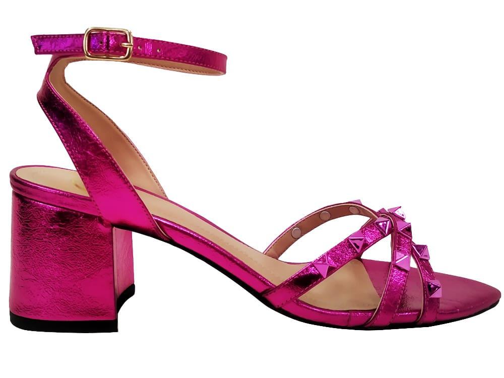 Sandália metalizado pink 5cm Cód.1084