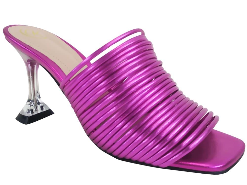 Sandália metalizado pink 9cm Cód.1072