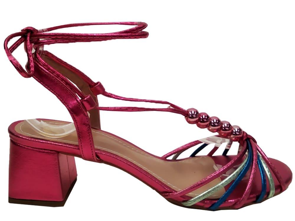 Sandália metalizado pink colorido 5cm Cód.1052