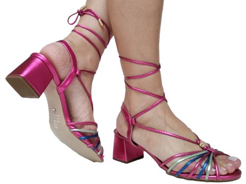 Sandália metalizado pink colorido 5cm Cód.666