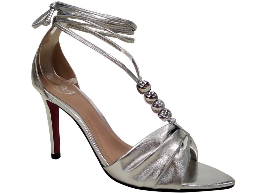 Sandália metalizado prata 9cm Cód.1083