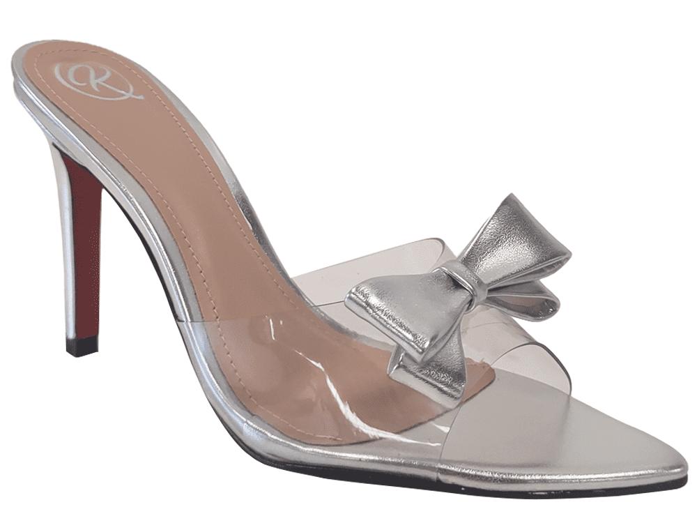 Sandália metalizado prata 9cm Cód.1174