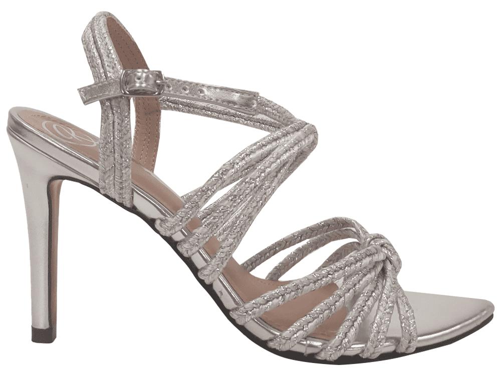 Sandália metalizado prata / corda 9cm Cód.1207