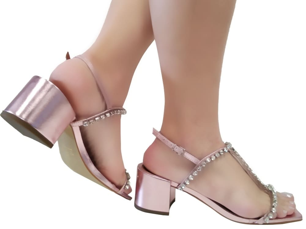 Sandália metalizado rosa 5cm Cód.1046