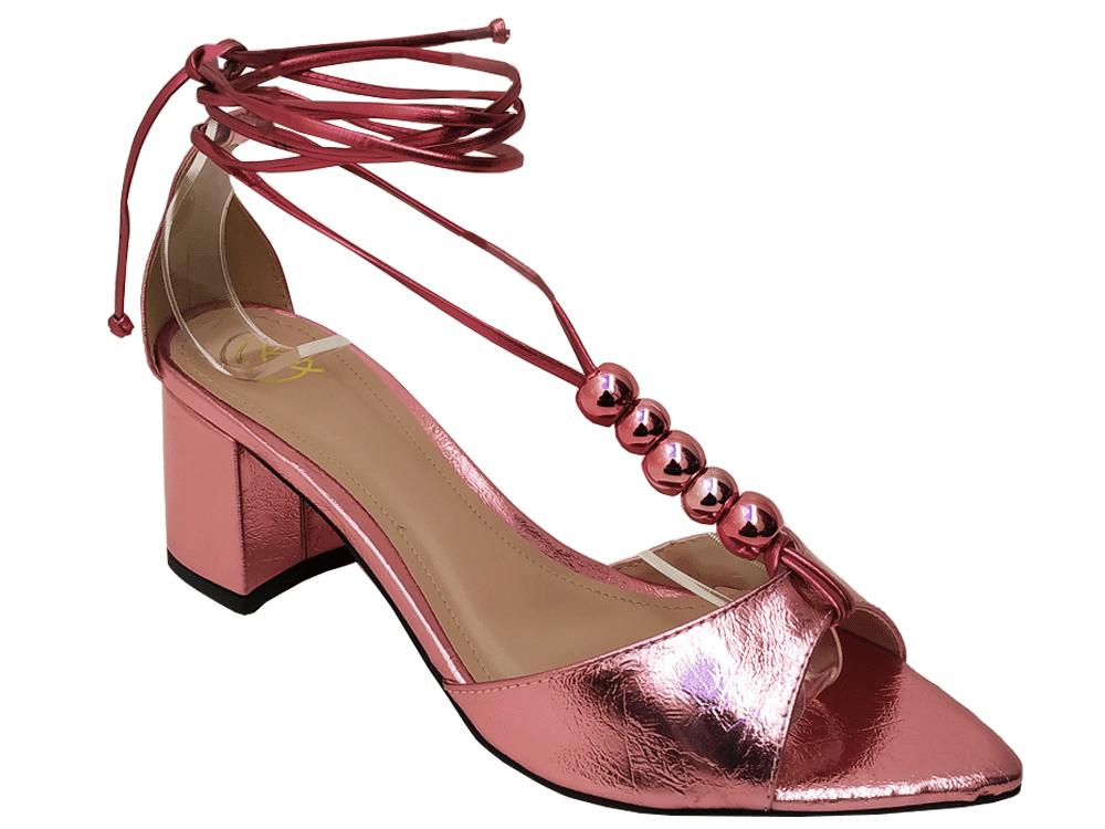 Sandália metalizado rosa 5cm Cód.800