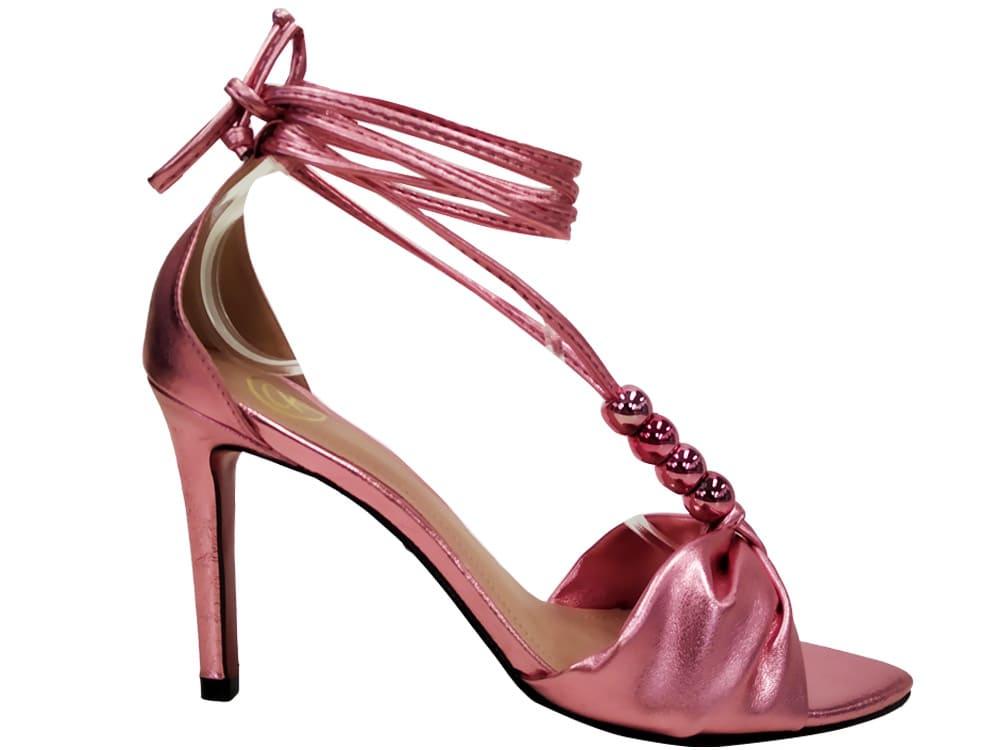 Sandália metalizado rosa 9cm Cód.1082
