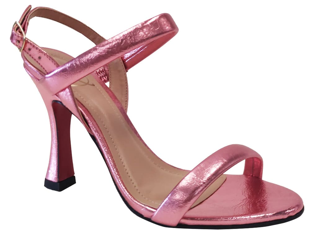 Sandália metalizado rosa 9cm Cód.1110