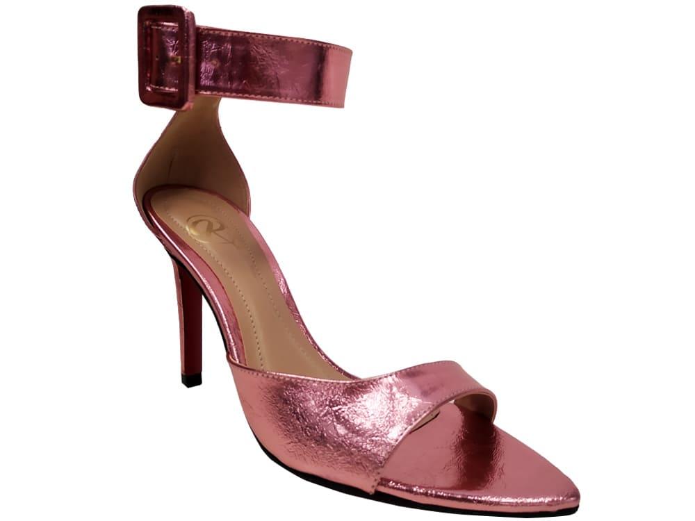 Sandália metalizado rosa 9cm Cód.1123