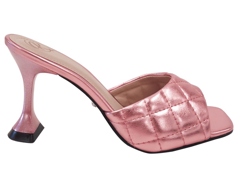 Sandália metalizado rosa 9cm Cód.1156