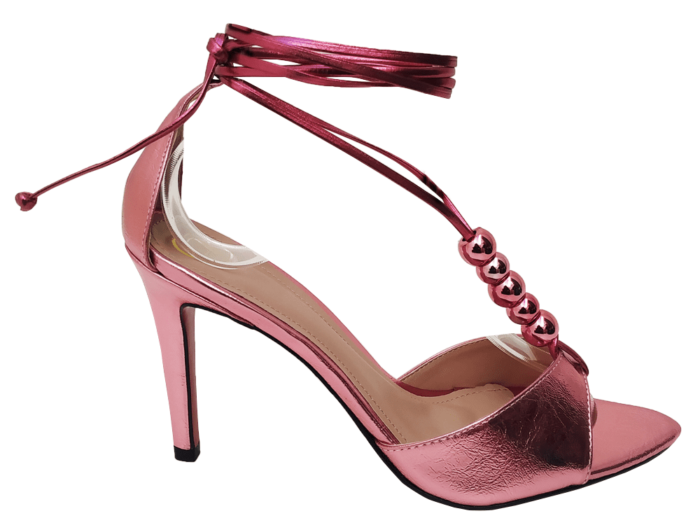 Sandália metalizado rosa 9cm Cód.805