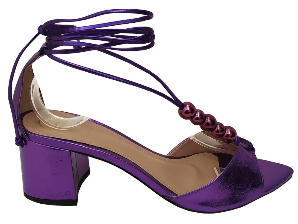 Sandália metalizado roxo 5cm Cód.799