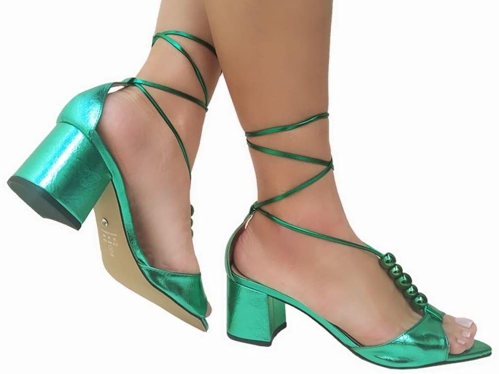 Sandália metalizado verde 5cm Cód.798
