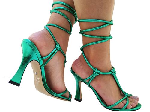 Sandália metalizado verde 9cm Cód.777