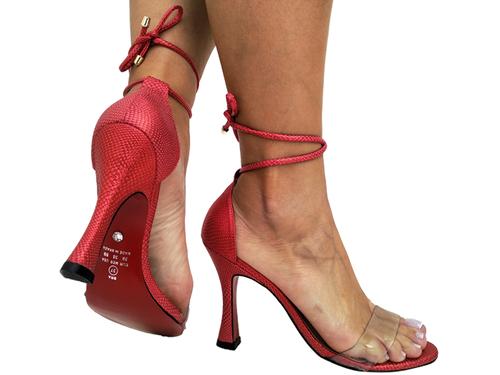 Sandália metalizado vermelho 2em1 9cm Cód.732