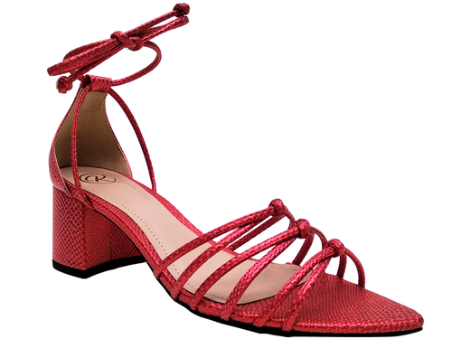 Sandália metalizado vermelho 5cm Cód.751