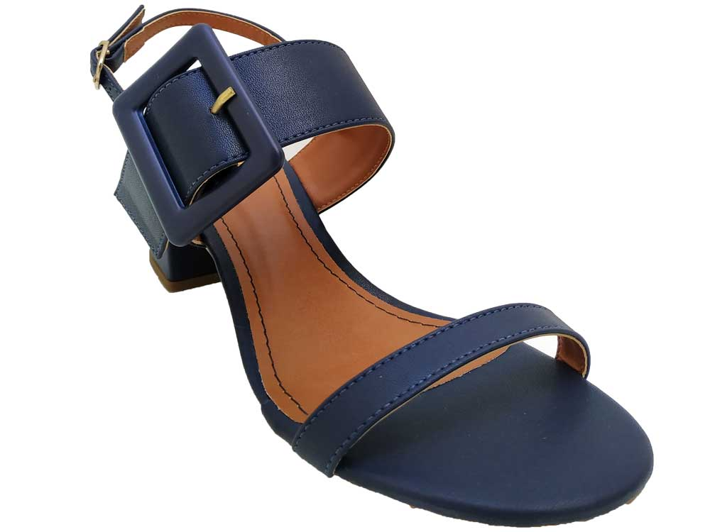 Sandália napa azul marinho 5cm Cód.565