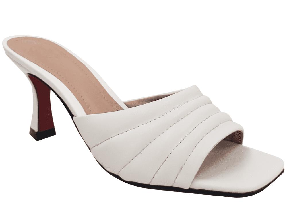 Sandália napa branco 7cm Cód.1180