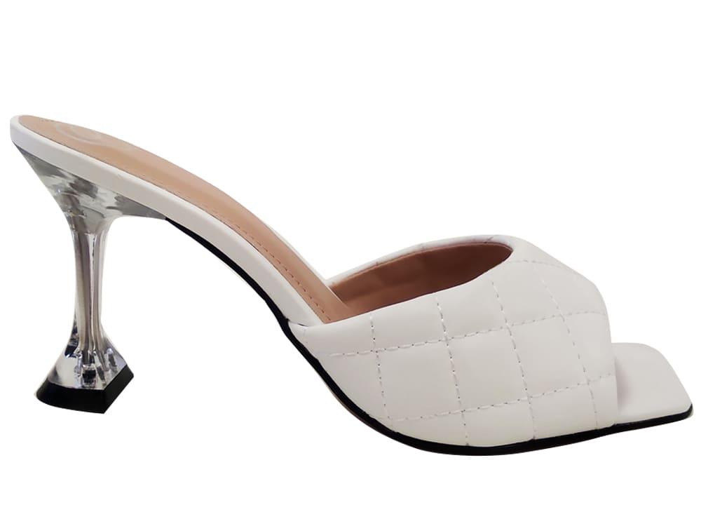 Sandália napa branco 9cm Cód.1064