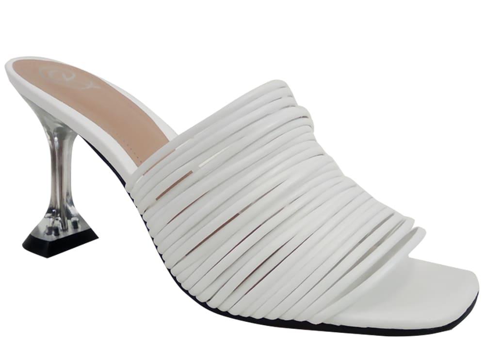 Sandália napa branco 9cm Cód.1070