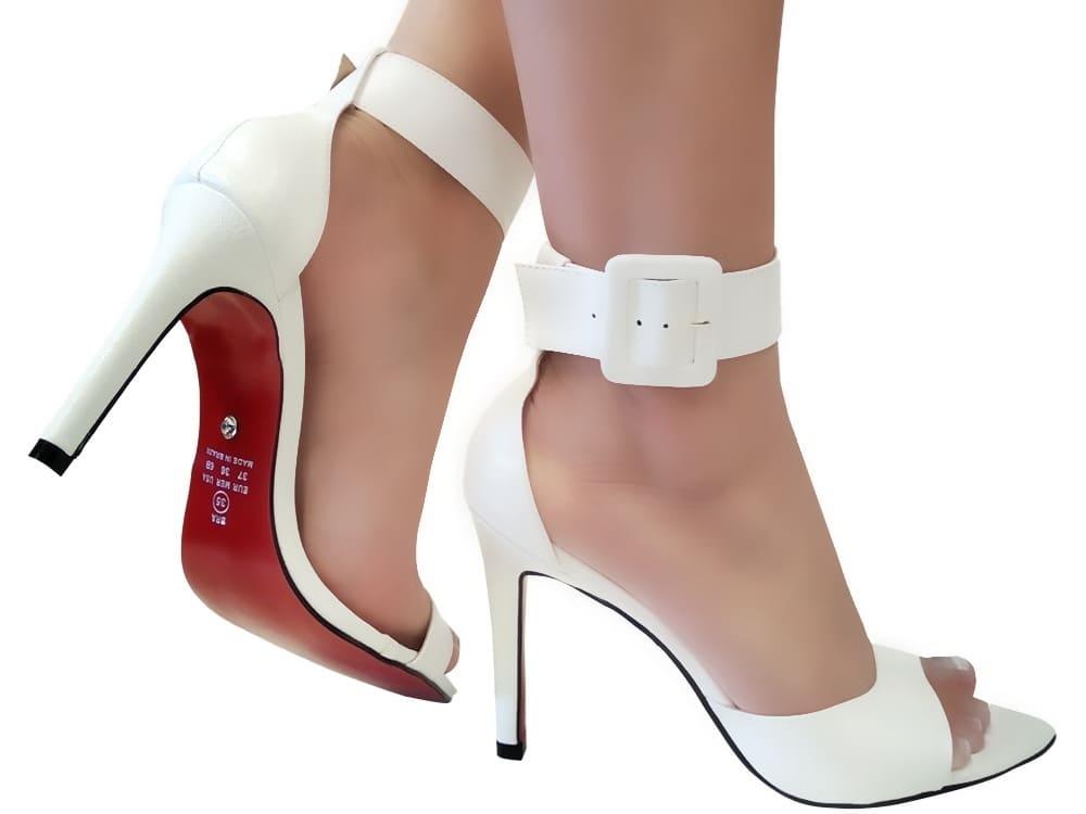 Sandália napa branco 9cm Cód.1121