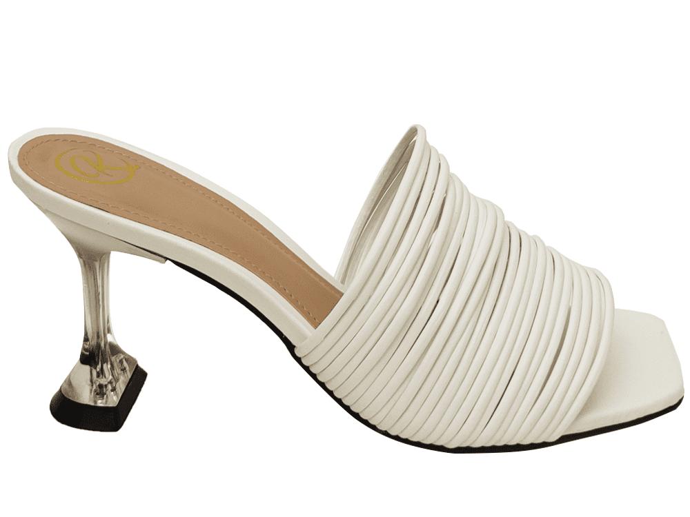 Sandália napa branco 9cm Cód.969